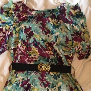 Abstract print belted dress M